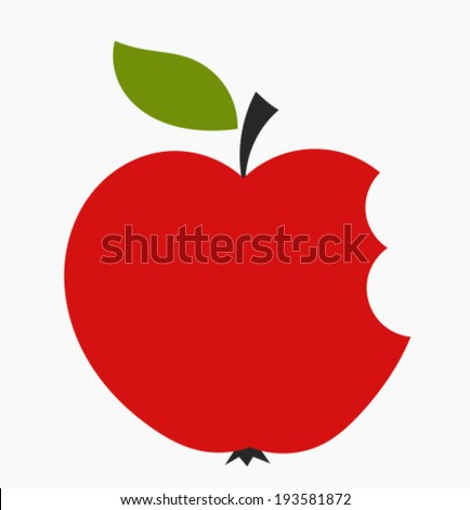 Bitten red apple icon. Vector illustration - stock vector
