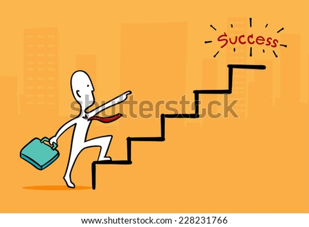 Biz man concept : Businessman at star point running up to success stair - stock vector