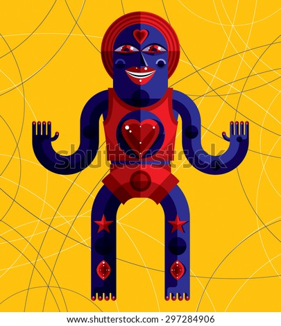 Bizarre creature vector illustration, cubism graphic modern picture. Flat design image of an odd character isolated on art background. - stock vector
