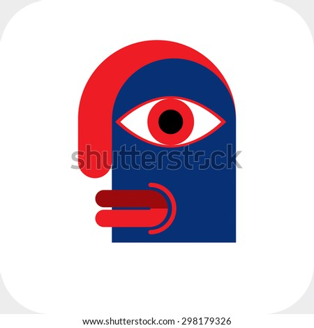 Bizarre creature vector illustration, cubism graphic modern picture. Flat design image of an odd character isolated on white.