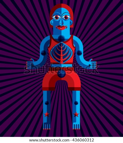 Bizarre creature vector illustration, cubism graphic modern picture. Flat design image of an odd character isolated on artistic background. - stock vector