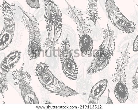 bizarre feather, seamless pattern - stock vector