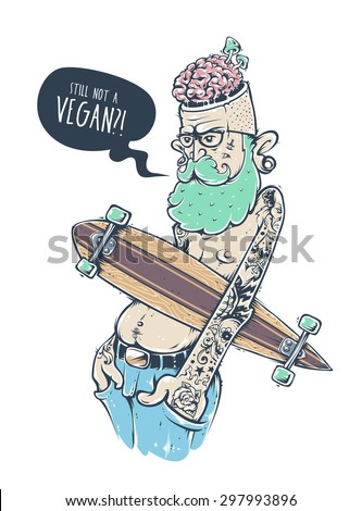 Bizarre hipster character with tattoos and longboard. Crazy graffiti style illustration. Vector art.  - stock vector