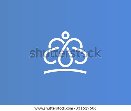 Bizarre vector logo in a modern style, Unusual quirky figure resembling a man with butterfly wings. - stock vector