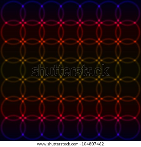 black abstract background with glowing circles - stock vector