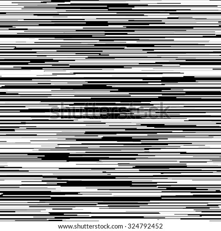 Black abstract background with random horizontal white lines, glitch effect for design concepts, posters, banners, web, presentations and prints. Vector illustration. - stock vector