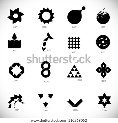 black abstract design elements collection - stock vector