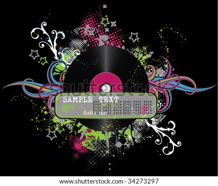 black abstract disco background - stock vector