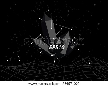 Black abstract polygons crystal vector background.
