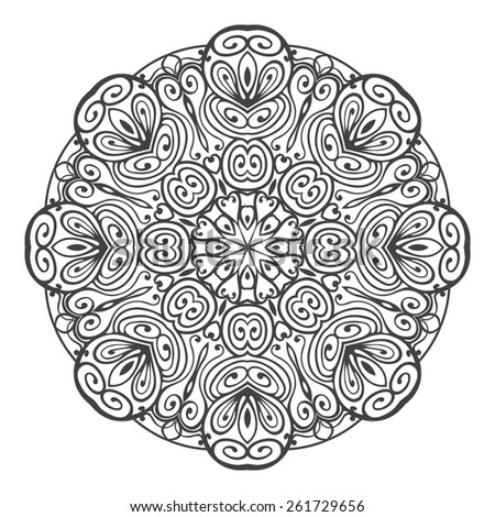 Black abstract round design elements isolated on white background. Ethnic mandala pattern. Vector illustration - stock vector
