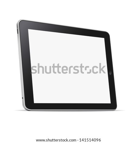 Black abstract tablet computer (pc) isolated on white. Vector illustration - stock vector