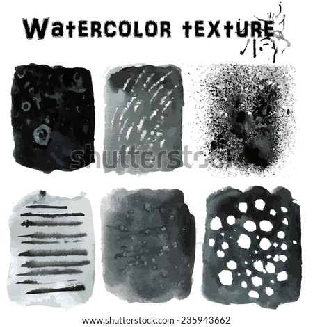 Black abstract watercolor texture background. Abstract aquarelle texture grayscale backdrop. Vector illustration. - stock vector