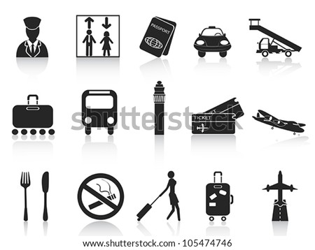 black airport icons set - stock vector