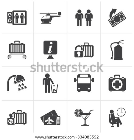 Black Airport, travel and transportation icons -  vector icon set 2 - stock vector