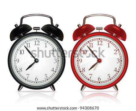 Black alarm clock and red alarm clock on white background - stock vector