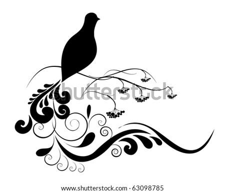 black and bird - stock vector