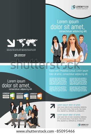 Black and Blue template for advertising brochure with business people - stock vector