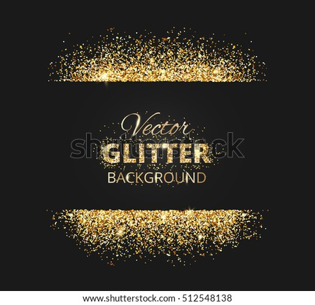 Black Gold Background Glitter Frame Space Stock Vector - Golden gold birthday invitation background
