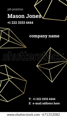 Black gold business card template us stock vector 671352082 black and gold business card template us standard size 2x35 in with flashek Choice Image