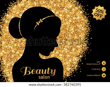 black gold flyer template fashion woman stock vector
