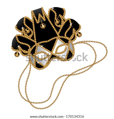 Black and gold Jester mask. EPS 10 vector, grouped for easy editing. No open shapes or paths. - stock vector