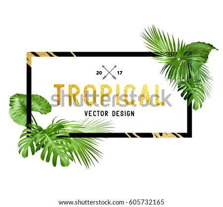 Black and gold tropical border frame design with various plam leaves. Vector illustration