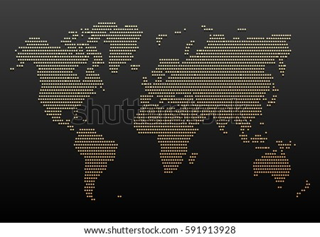 Black Gold World Map Design Vintage Stock Vector Royalty Free - Black and gold world map
