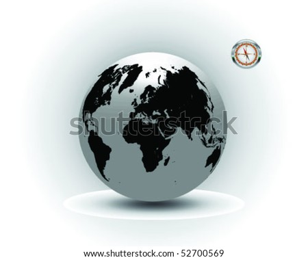 Black and gray globe with compass-vector