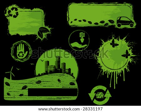 Black and green grunge eco design elements (vector); a JPG version is also available - stock vector