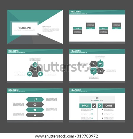 Black and Green Infographic elements presentation template flat design set for brochure flyer leaflet - stock vector