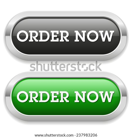 Black and green order now button on white background - stock vector