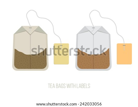 black and green tea bags set with labels vector