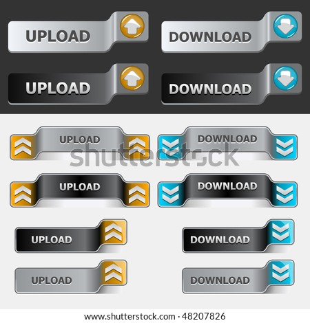Black and grey web upload button set. Global swatches included. Easy to change colors. - stock vector