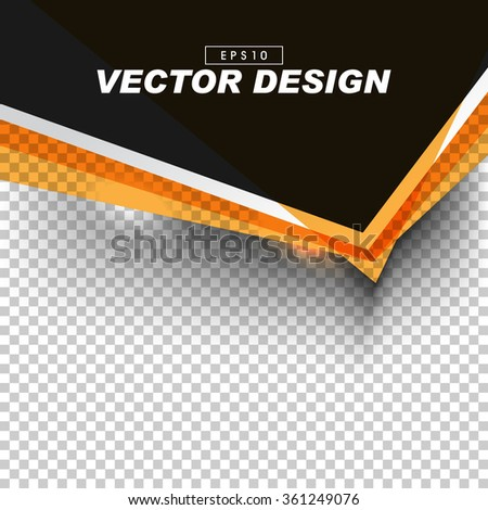 black and orange banner design on gray checkered background. eps10 vector - stock vector