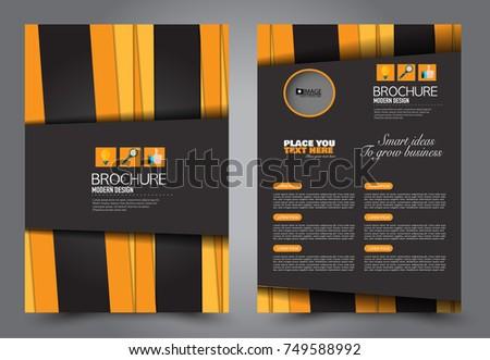 Black Orange Flyer Template Design Brochure Stock Vector