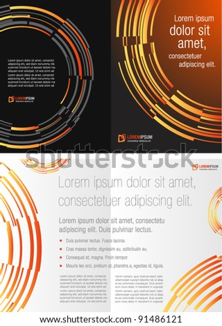 black and orange template for advertising brochure - stock vector