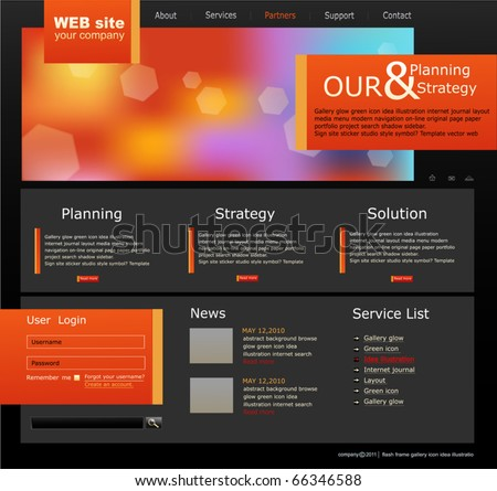 black and orange Vector Web site for business - stock vector