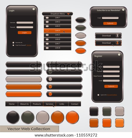 Black and Orange Web Forms Template - stock vector