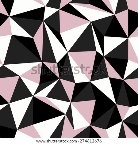Black and Pink Colors Triangle Seamless Pattern - stock vector