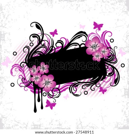 Black and pink floral frame - stock vector