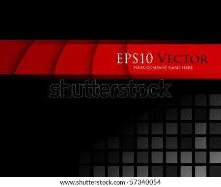 Black and red abstract background - vector illustration - stock vector