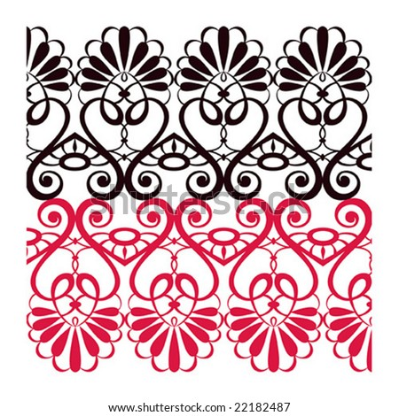 Black and red lace isolated, vector