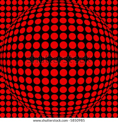 Black and red scalable sphere, part of spots and dots series