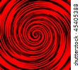 Black and red spiral in square tile, vector - stock vector