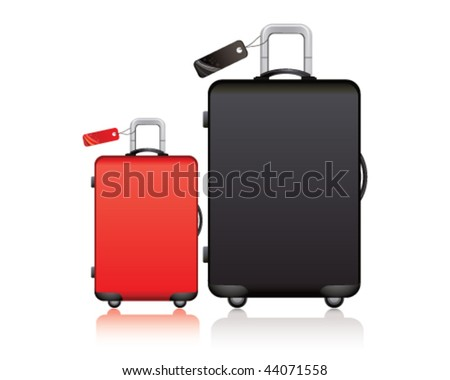 black and red suitcase - stock vector