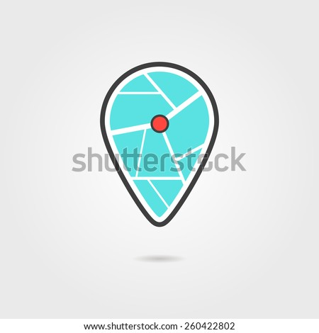 black and turquoise pin icon with shadow. concept of navigate, show address, indicate, geo service, find home. isolated on grey background. flat style trendy modern logotype design vector illustration - stock vector