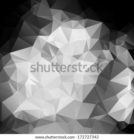 Black and white abstract background polygon - stock vector