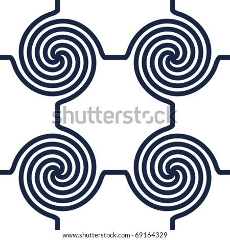 Black-and-white abstract background with circle swirls. Seamless pattern. Vector illustration.