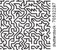 Black-and-white abstract background with complex maze. Seamless pattern for your design. Vector illustration. - stock vector