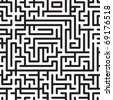 Black-and-white abstract background with complex maze. Seamless pattern. Vector illustration. - stock photo